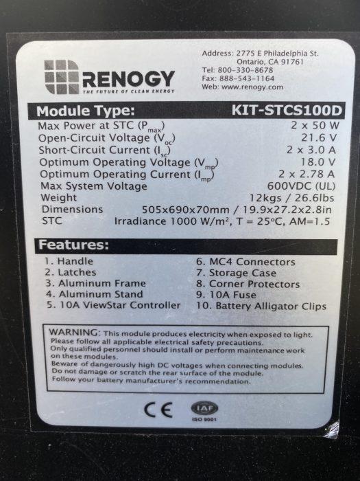 Sticker on the back of the Renogy 100 Watt suitcase solar panel
