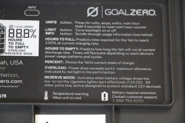 information found on the lid of the yeti power station