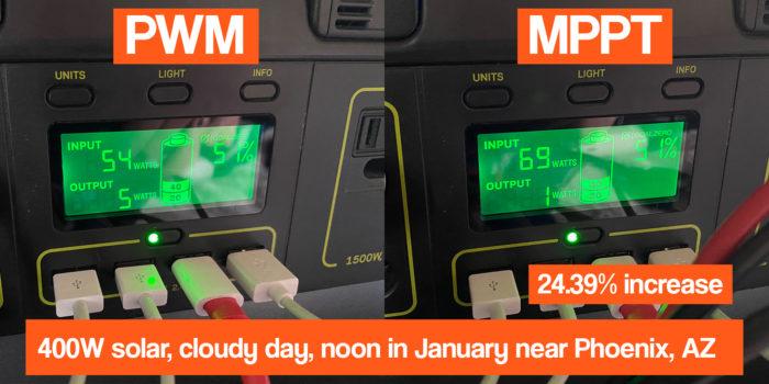 goal zero yeti pwm versus mppt comparison on a cloudy day