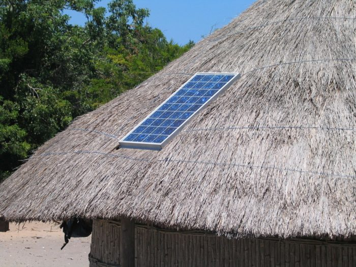 solar panel on hut roof