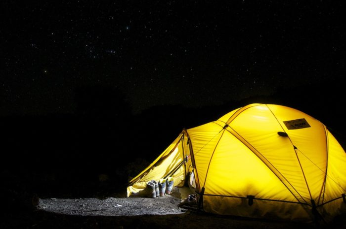 tent under the night sky