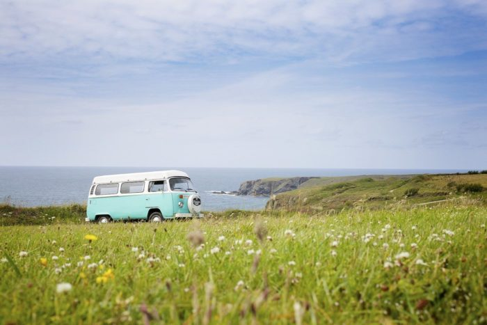 vw bus camping by the ocean