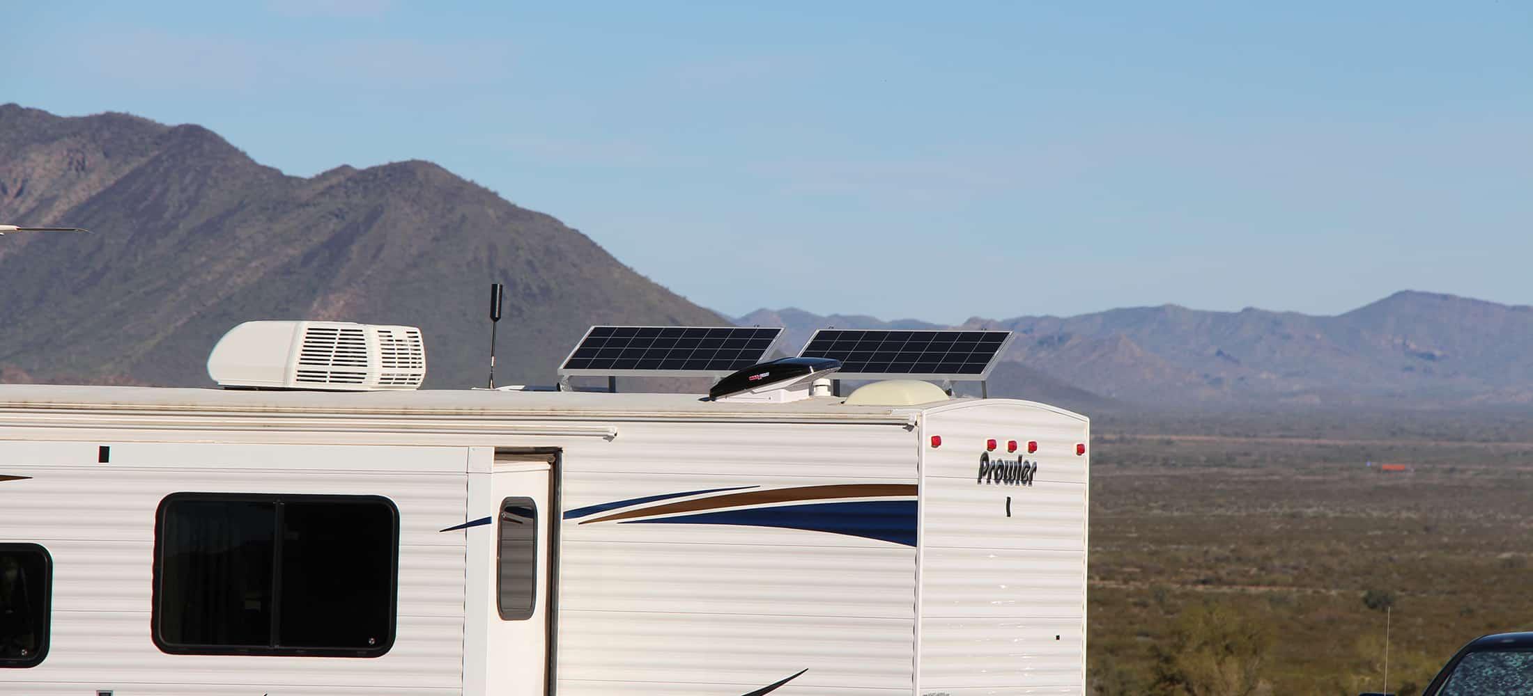 Two 100 watt solar panels on travel trailer roof